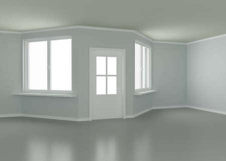 Room, door and windows, 3d illustration illustration