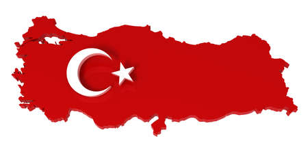 turkish flag: Turkey, map with flag, 3d illustration, isolated in white