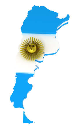 Argentina, map with flag, 3d illustration, isolated on white illustration