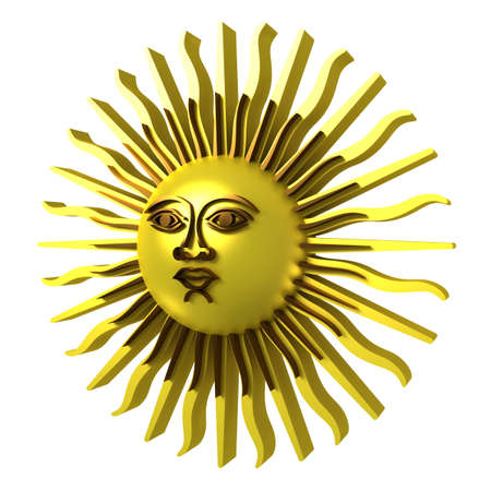 Golden sun, with face,  3d illustration, isolated on white
