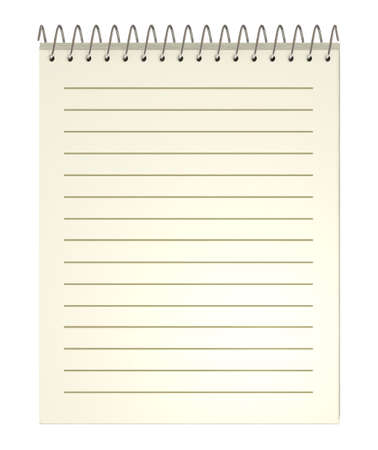 Notebook, old, spiral,  3d illustration, isolated on white illustration