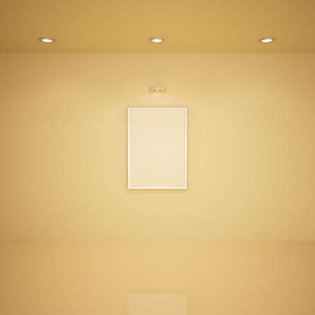 Blank frame in empty room, 3d illustration