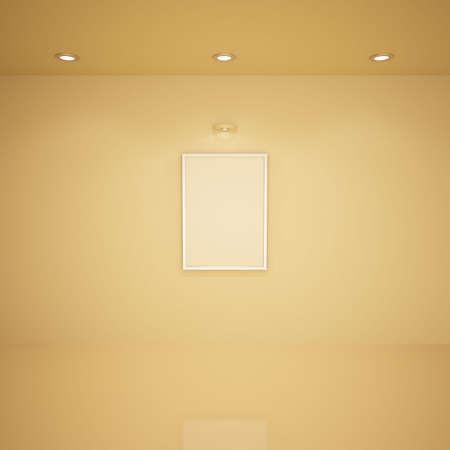 Blank frame in empty room, 3d illustration