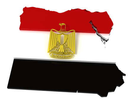 Egypt, map and flag,   3d illustration Stock Illustration - 8031450