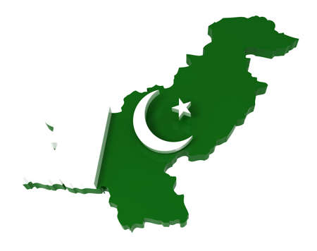 islamabad: Pakistan, map with flag,  3d illustration, isolated on white Stock Photo