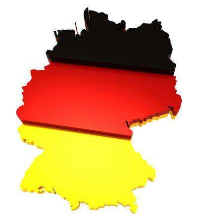 Germany, map with flag,  3d illustration, isolated on white Stock Illustration - 8031453