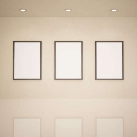 Blank frames in art gallery, 3d illustration