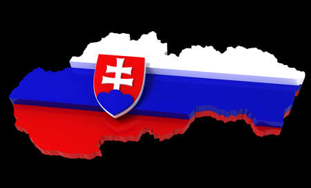 territorial: Slovakia, map with flag,  3d illustration, isolated on black