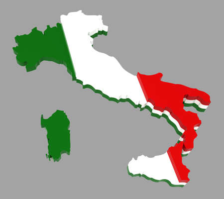 Italy, map with flag,  3d illustration, isolated on grey Foto de archivo