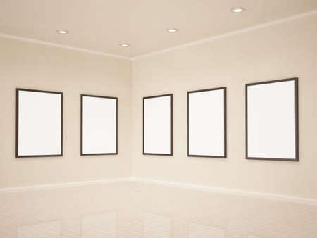 Art gallery, blank frames, 3d illustrastion