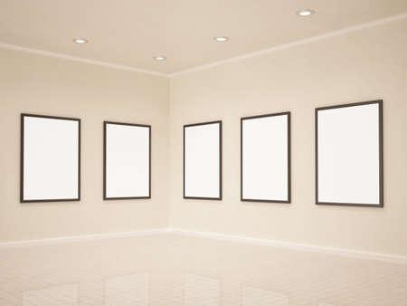 Art gallery, blank frames, 3d illustrastion