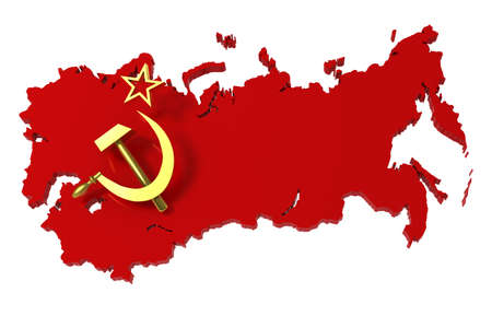 soviet: Soviet Union, USSR, map with flag,   3d illustration Stock Photo