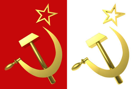 labor policy: Star, hammer and sickle, symbols of USSR, isolated on red and white,   3d illustration