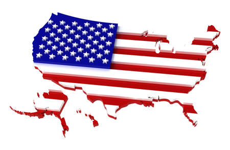 USA, map with flag,  3d illustration, isolated on white