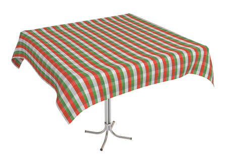 Table with cloth, italian colors tablecloth,   3d illustration, isolated on white 스톡 콘텐츠