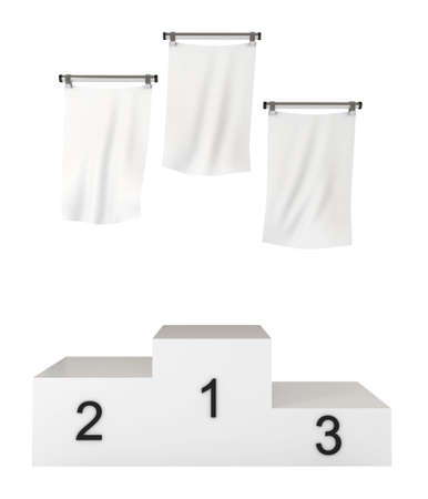Podium, winners, with blank flags,   3d illustration, isolated on white