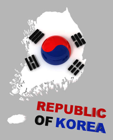 Republic of Korea, map with flag, clipping path included, 3d illustration, isolated on grey illustration
