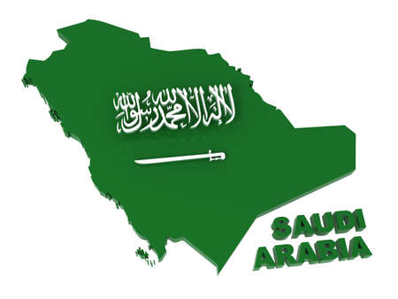 saudi: Saudi Arabia, map with flag,   3d illustration, isolated on white
