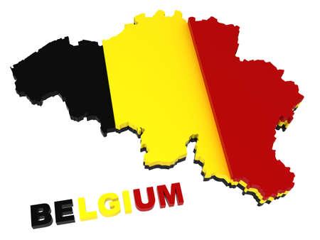 belgie: België, kaart met vlag, 3d illustratie, geïsoleerd op wit  Stockfoto