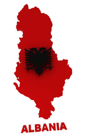 Albania, map with flag, isolated on white,  3d illustration illustration