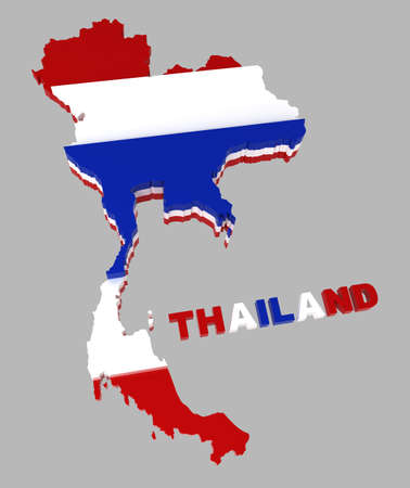 Thailand, map with flag,   3d illustration, isolated on grey illustration