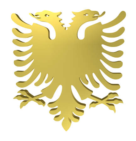 albania: Eagle sign, with two heads, isolated on white,   3d illustration