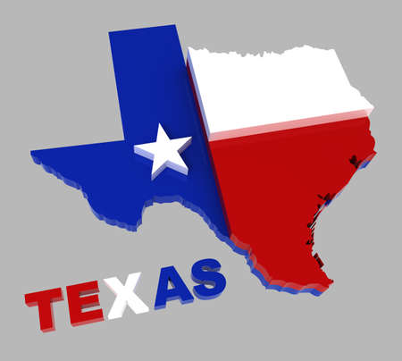 Texas, map with flag, isolated on grey, 3d illustration 스톡 콘텐츠