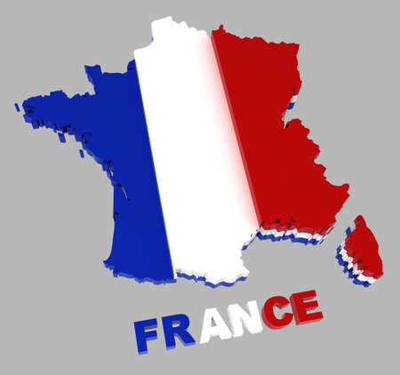 extruded: France, map with flag, isolated on grey,  3d illustration