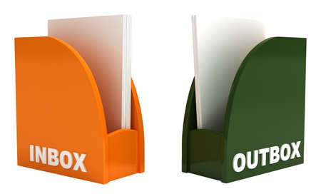 Inbox and outbox, isolated on white, 3d illustration Imagens