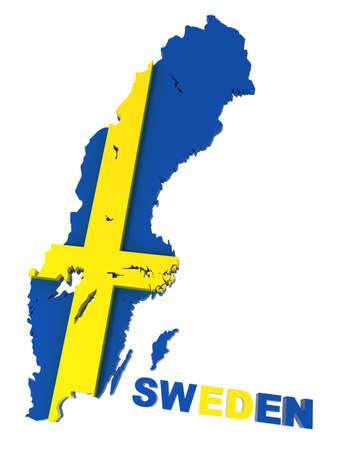 sverige: Sweden, map with flag, isolated on white,  3d illustration Stock Photo