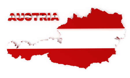 Austria, map with flag, isolated on white,   3d illustration