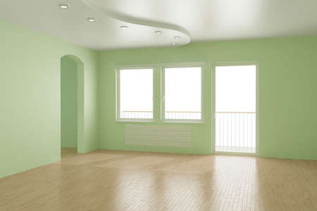 wood heating: Empty room,   3d illustration