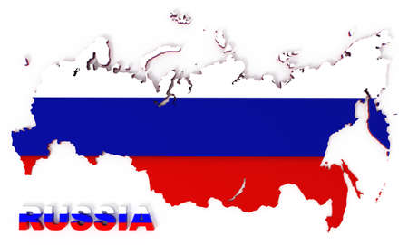 Russia, map with flag, isolated on white,  3d illustration illustration