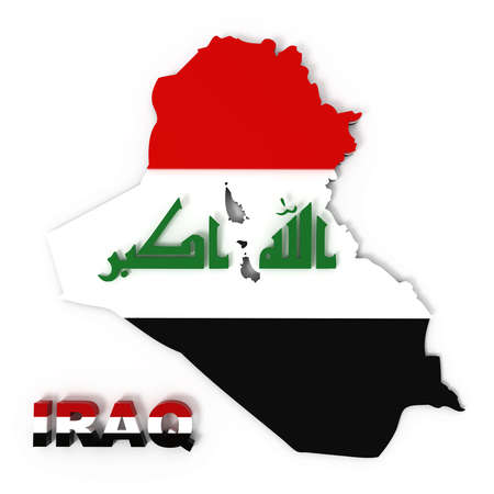 iraq conflict: Iraq, map with flag, isolated on white,  3d illustration