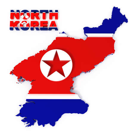 North Korea, map with flag, isolated on white   3d illustration