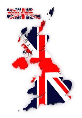 UK, United Kingdom map with flag, isolated on white  3d illustration illustration