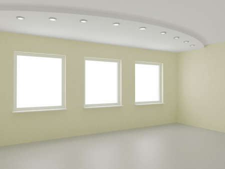 Empty interior, new room, office or residential,   3d illustration