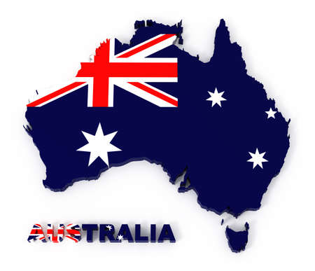 british culture: Australia, map with flag  3d illustration