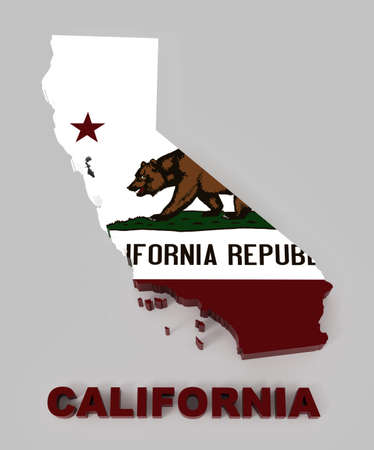 California, map with flag  3d illustration