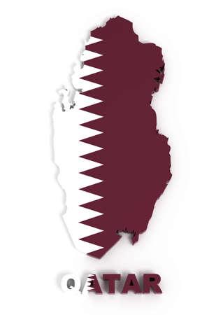 Qatar, map with flag,  3d illustration Stock Illustration - 8362921