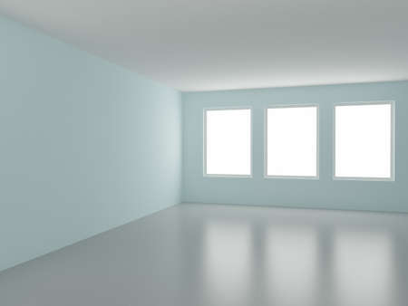 Empty room, with three windows, 3d illustration illustration