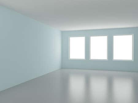 Empty room, with three windows, 3d illustration illustration