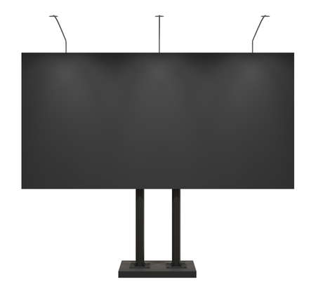 Blank black billboard, front, isolated on white  photo