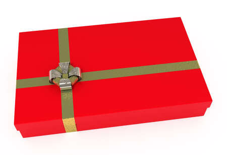 Red gift box, with golden ribbons, isolated on white   photo