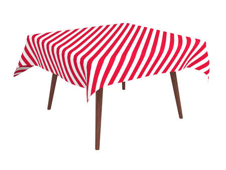Wooden table with striped cloth, isolated on white Foto de archivo
