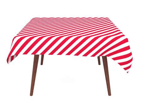 tavolo da pranzo: Tabella con striping tovaglia, vista frontale, isolata on white Archivio Fotografico