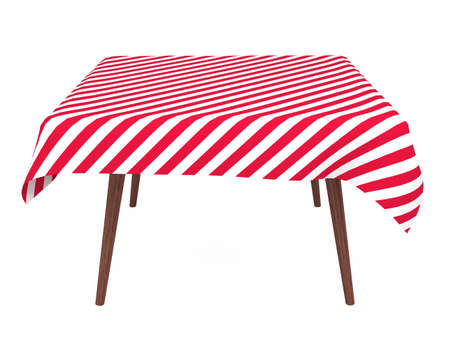 Table with striped tablecloth, front view, isolated on white