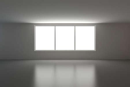 Empty interior, three windows photo