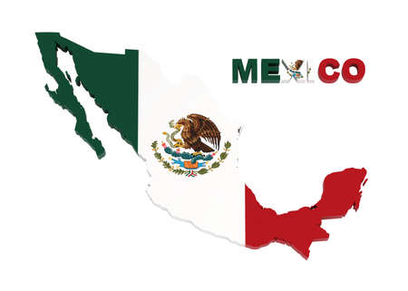 Mexico, map with flag, isolated on white  photo