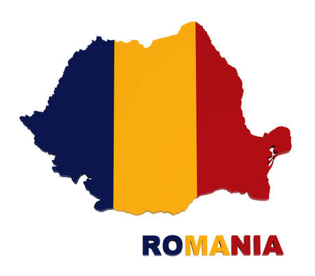 romanian: Romania, map with flag